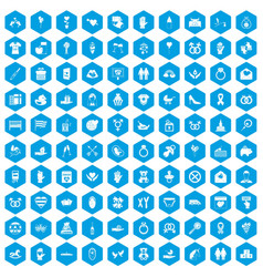 100 love icons set blue vector
