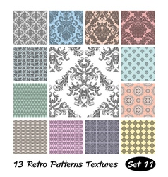 13 Retro Patterns Textures Set 11 vector image
