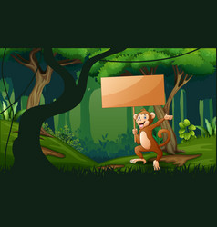 a monkey holding wooden sign at forest landscape vector image