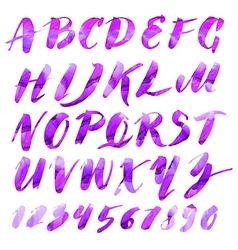 Alphabet brushpen 5 watercolor vector
