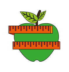 apple and measuring tape weight loss related icon vector image