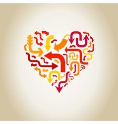 Arrows in heart vector
