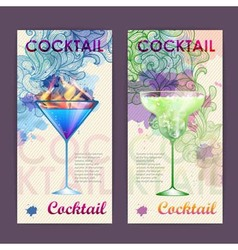 Artistic decorative watercolor cocktail poster vector image