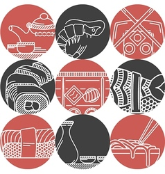 Asian food black and red icons vector image