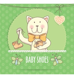 Baby shoes banner with cat vector image