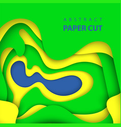 background with brazilian flag colors paper cut vector image