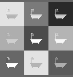 Bathtub sign grayscale version of popart vector
