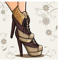 Beautiful legs of woman in ankle boot vector