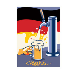 Beer tap with germany flag pop art poster vector