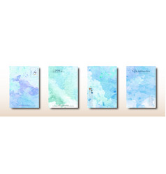 Blue and green watercolor hand painted collection vector