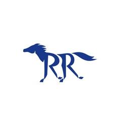 Blue horse silhouette rr legs running retro vector