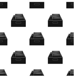 Books in box icon in black style isolated on white vector