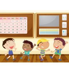 boys in classroom vector image