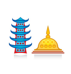 Buddhist pagoda and stupa religious temples vector