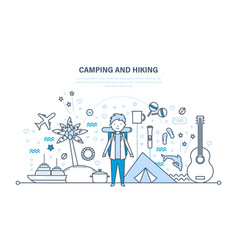 camping hiking summer travel hiking equipment vector image