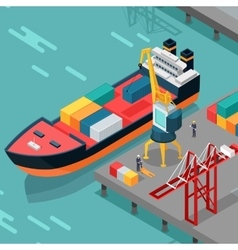 Cargo Port Concept in Isometric Projection vector image