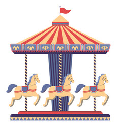 Carousel with horses in amusement park vector