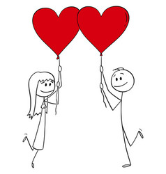 cartoon couple man and woman in love vector image
