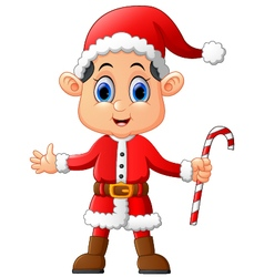cartoon kid wearing santa costume vector image