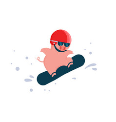 cartoon pig on a jumping on a snowboard a mask vector image