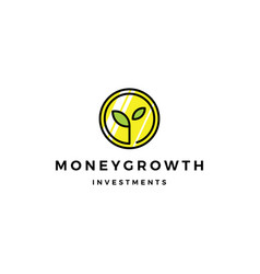 coin leaf sprout money grow growth investment vector image