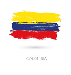 colombia colorful brush strokes painted national vector image