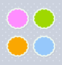 Colorful seasonal stickers with scalloped edges vector