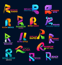 corporate identity r icons creative color gradient vector image