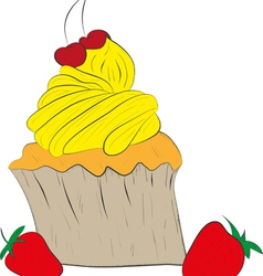 Cupcake with a Cherry on Top vector