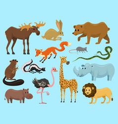 cute animals for bawild giraffe moose camel vector image