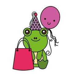 cute frog birthday gift balloon vector image