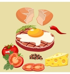Cutlet with egg vector