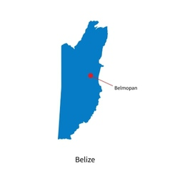 Detailed map of Belize and capital city Belmopan vector