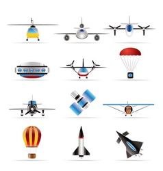 different types of aircraft s and icon vector image