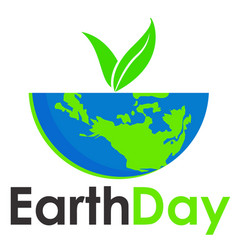 earth day text and world flat background vector image