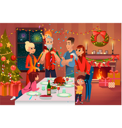 family has christmas dinner mother takes photo vector image