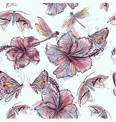 Fashion floral pattern from hibiscus flowers vector