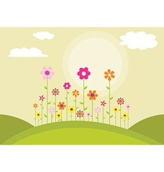 Flowers on a hill vector