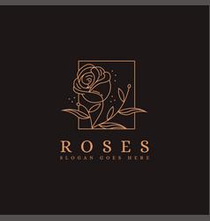 framed nature rose logo icon design with line art vector image