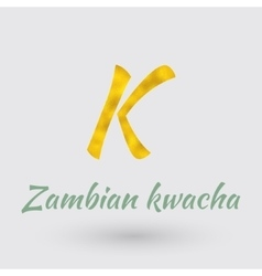 Golden Symbol of Zambian Kwacha vector image