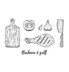 grill barbecue sketch set chicken meat leg cook vector image
