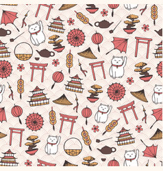 hand drawn asian seamless pattern with umbrellas vector image