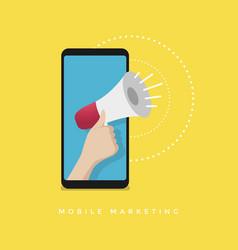 Hand holding megaphone on mobile mobile marketing vector