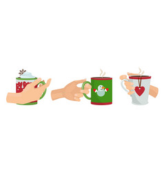 hands with mugs christmas drinks isolated arms vector image