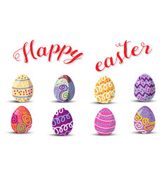 Happy easterset of cute easter eggs with vector