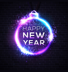 happy new year dark background festive neon sign vector image