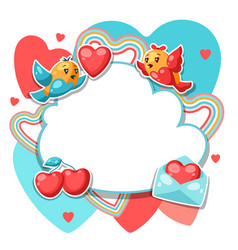 happy valentine day frame vector image