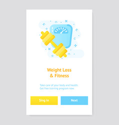healthy lifestyle banner concept with scales and vector image