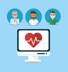 hospital doctors computer icon image vector image