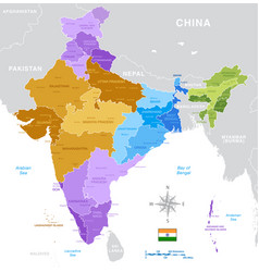 India administrative map vector